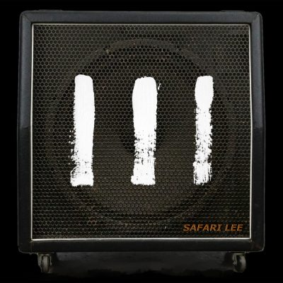 Picture of III EP zine cover with three white hand painted vertical stripes on the front of a bass amplifier